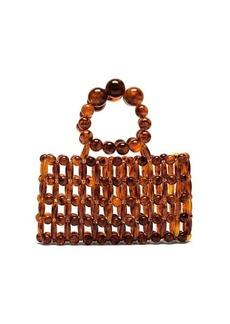 Cult Gaia Cora tortoiseshell-effect beaded clutch bag