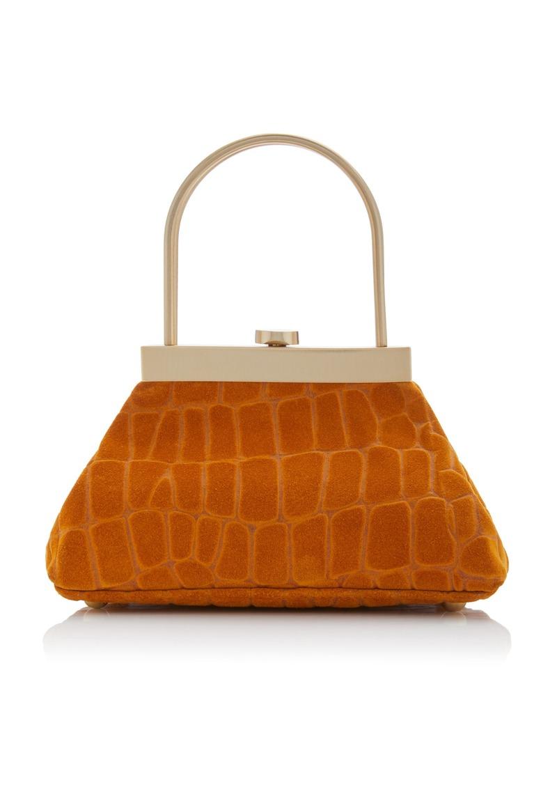 Cult Gaia Estelle Mini Croc-Embossed Leather Top Handle Bag