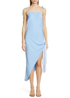 Cult Gaia Giselle Tie Hem Stretch Silk Slipdress