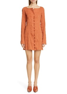 Cult Gaia Lafina Long Sleeve Crinkle Minidress