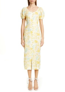 Cult Gaia Print Linen Midi Pencil Dress