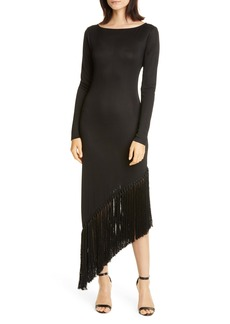 Cult Gaia Sharona Asymmetrical Fringe Long Sleeve Midi Dress