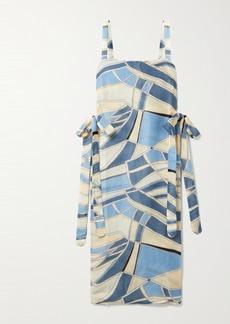 Cult Gaia Este Tie-detailed Printed Cotton-blend Gauze Tunic