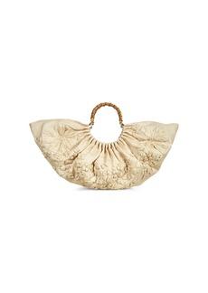 Cult Gaia Large Banu Straw Flower Linen Top Handle Bag