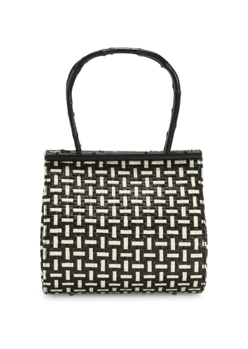 Cult Gaia Via Two-Tone Baseketweave Top Handle Bag