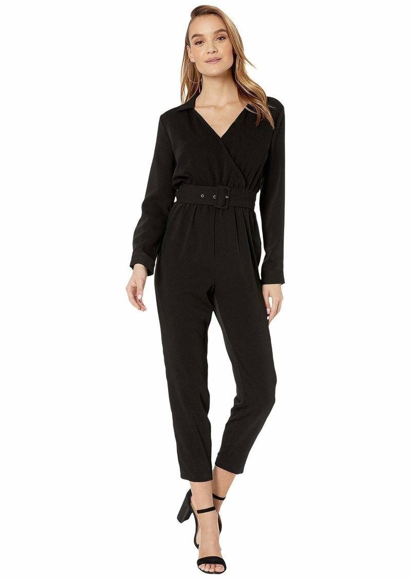 cupcakes and cashmere Cascade Belted Long Sleeve Crepe Jumpsuit