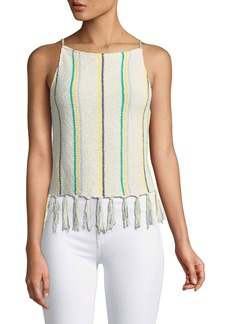 cupcakes and cashmere Cecille Sleeveless Striped Crochet Top w/ Tassel Hem