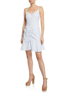 cupcakes and cashmere Corsiva Striped Spaghetti-Strap Mini Flounce Dress