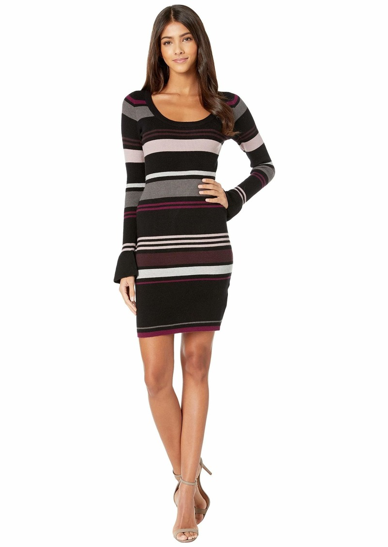 cupcakes and cashmere Cosette Striped Rib Knit Sweater Dress