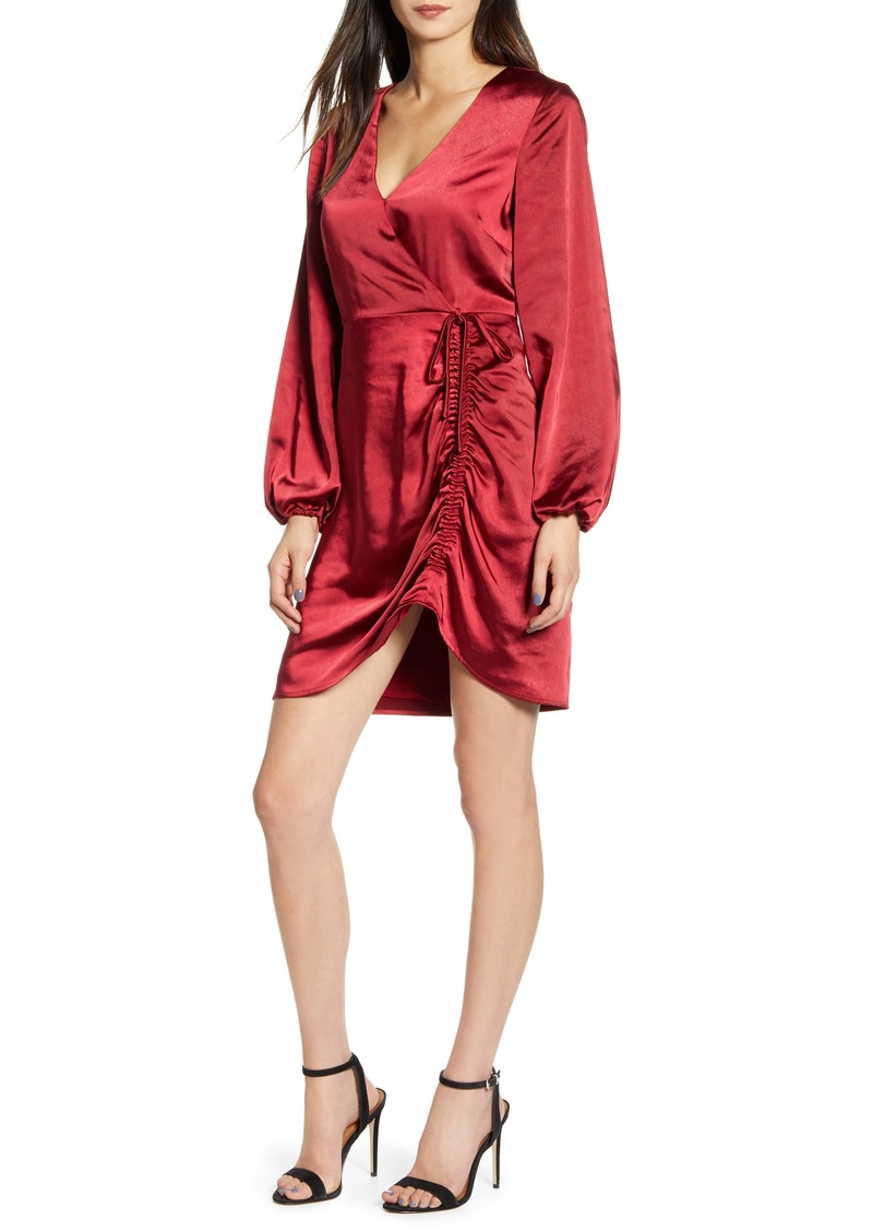 cupcakes and cashmere cupcakes & cashmere Brooklyn Faux Wrap Long Sleeve Satin Dress
