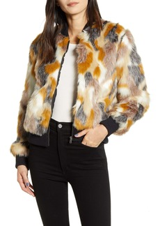 cupcakes and cashmere cupcakes & cashmere Faux Fur Patchwork Bomber Jacket