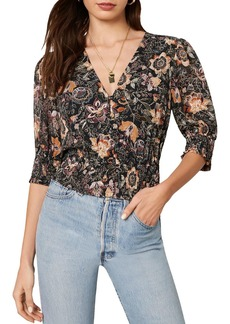 cupcakes and cashmere Abra Floral Print Chiffon Blouse