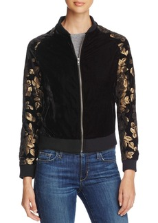 cupcakes and cashmere Axwell Sequined Velvet Bomber Jacket
