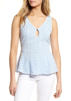 cupcakes and cashmere Brian Embroidered Peplum Tank