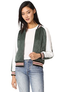 cupcakes and cashmere Brice Quilted Satin Bomber Jacket