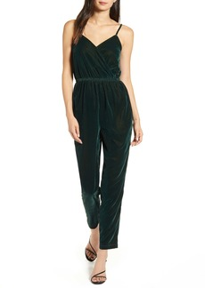 cupcakes and cashmere Budapest Wrap Front Velvet Jumpsuit