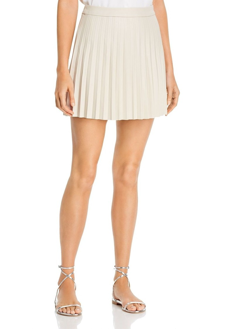 cupcakes and cashmere Cannes Pleated Faux-Leather Skirt