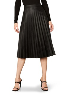 cupcakes and cashmere Carole Pleated Faux Leather Skirt