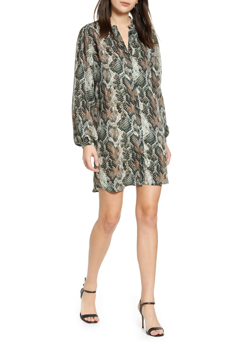 cupcakes and cashmere Clara Long Sleeve Snake Print Dress