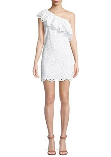 cupcakes and cashmere Cosmo One-Shoulder Ruffle Eyelet Dress