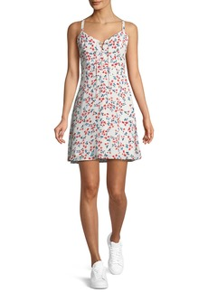 cupcakes and cashmere Dennis Sleeveless Floral-Print Lace-Up Dress