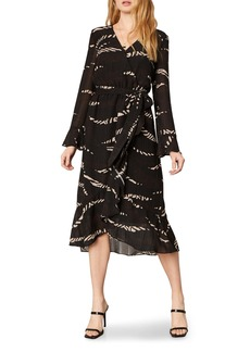 cupcakes and cashmere Ella Patchwork Print Long Sleeve Midi Wrap Dress