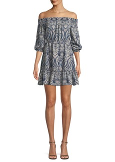Cupcakes and Cashmere Elroy Off-the-Shoulder Long-Sleeve Paisley-Print Dress
