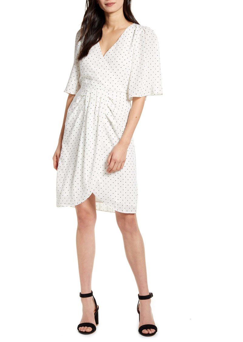 cupcakes and cashmere Estrella Dot Print Crinkle Chiffon Dress