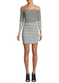 Cupcakes and Cashmere Fira Off-the-Shoulder Long-Sleeve Striped Mini Dress