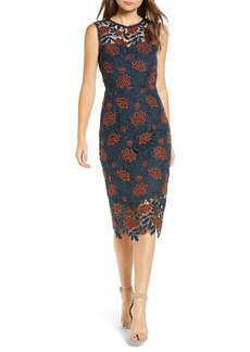 cupcakes and cashmere Floral Lace Sheath Dress