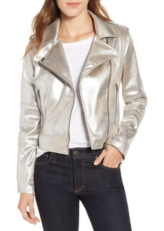 cupcakes and cashmere Foiled Faux Suede Moto Jacket