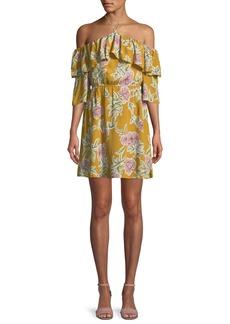 cupcakes and cashmere Fonda Floral-Print Off-Shoulder Halter Dress
