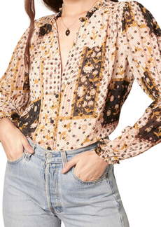 cupcakes and cashmere Imogene Patchwork Print Top