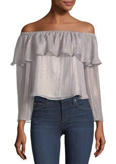 cupcakes and cashmere Jobett Off-the-Shoulder Metallic Blouse