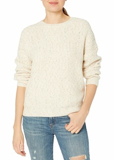 cupcakes and cashmere Junior's Petra Natural Speckle Yarn Fisherman Knit Sweater  Extra Small