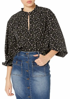 cupcakes and cashmere Junior's Victoria Ditsy Floral Peasant Top with Ruffle Neck