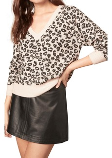 cupcakes and cashmere Monroe Leopard Spot V-Neck Sweater