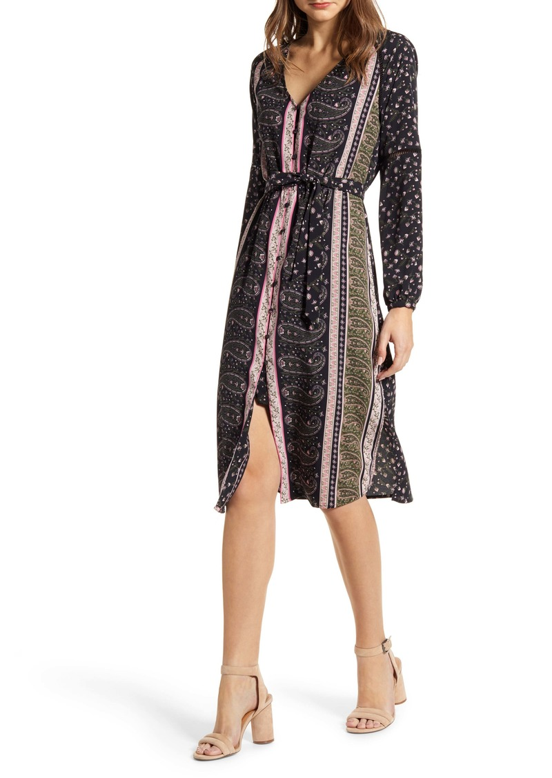 cupcakes and cashmere Nollie Stripe Long Sleeve Midi Dress