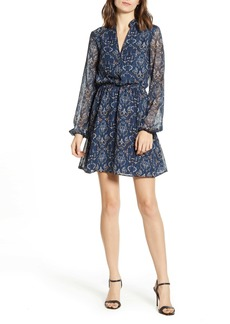 cupcakes and cashmere The Rocky Paisley Chiffon Long Sleeve Minidress