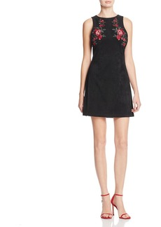 cupcakes and cashmere Valet Embroidered Faux Suede Dress