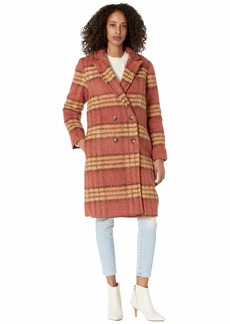 cupcakes and cashmere Vera Brushed Plaid Coat rust large