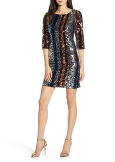 cupcakes and cashmere Virginia Multi Stripe Sequin Minidress