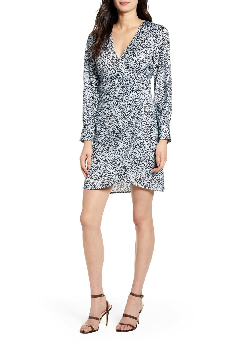 cupcakes and cashmere Virgo Cheetah Print Long Sleeve Faux Wrap Dress
