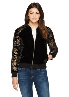 cupcakes and cashmere Women's Axwell Velvet Bomber Jacket