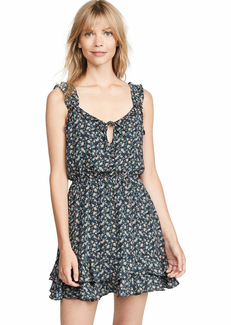 cupcakes and cashmere Women's Azura Printed CDC Ruffle Dress with tie Neck  Extra Small