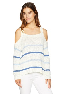 cupcakes and cashmere Women's Cerice Cold Shoulder Stripe Sweater  Extra Small