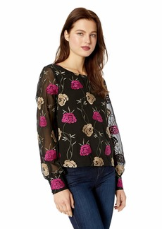 cupcakes and cashmere Women's Coby Embroidered Chiffon Button Back Blouse