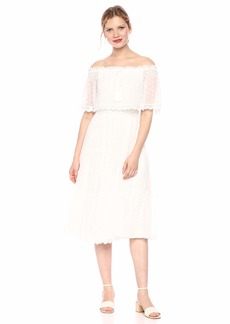 cupcakes and cashmere Women's Contessa Embroidered mesh Off The Shoulder midi Dress