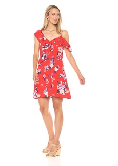 cupcakes and cashmere Women's Cordetta Assymetrical Ruffle Print Dress Poppy red Extra Small