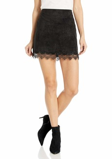 cupcakes and cashmere Women's Crista Faux Suede Skirt with lace Trim